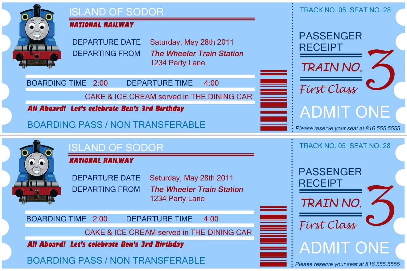 Thomas Train Ticket